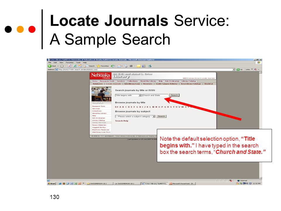 Locate Journals Service: A Sample Search
