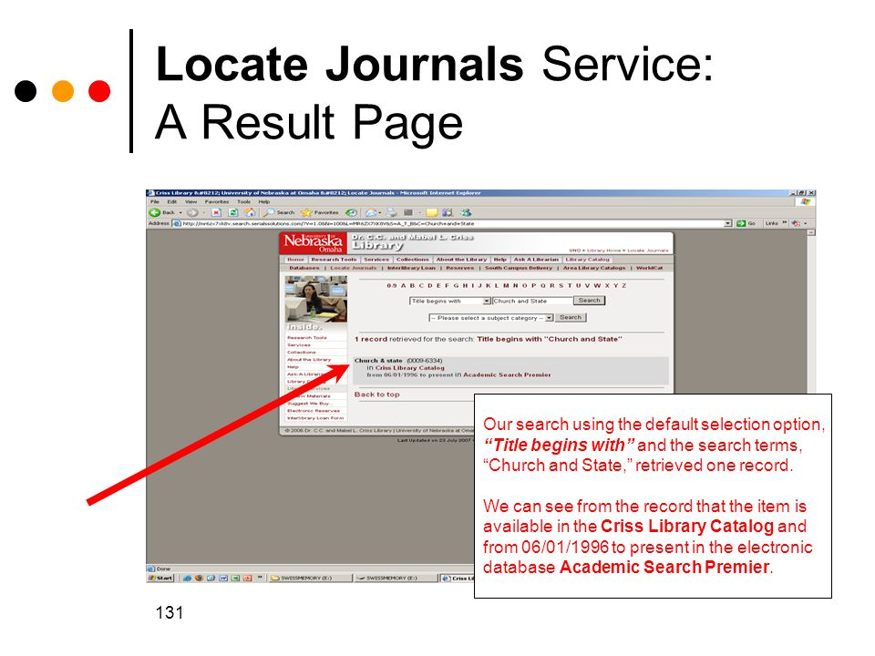 Locate Journals Service: A Result Page