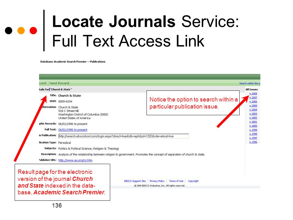 Locate Journals Service: Full Text Access Link