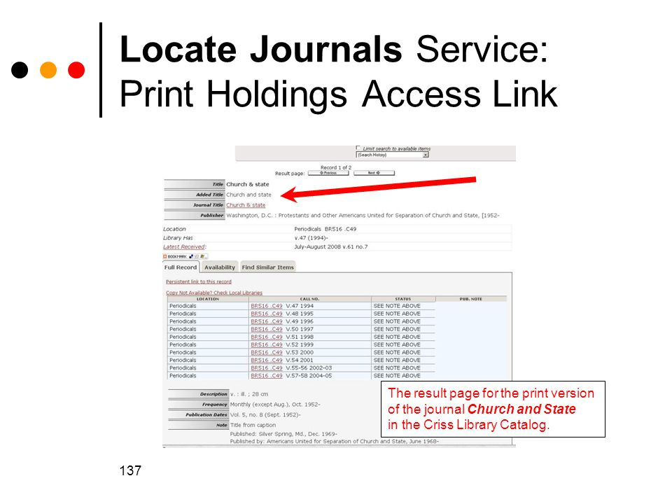 Locate Journals Service: Print Holdings Access Link