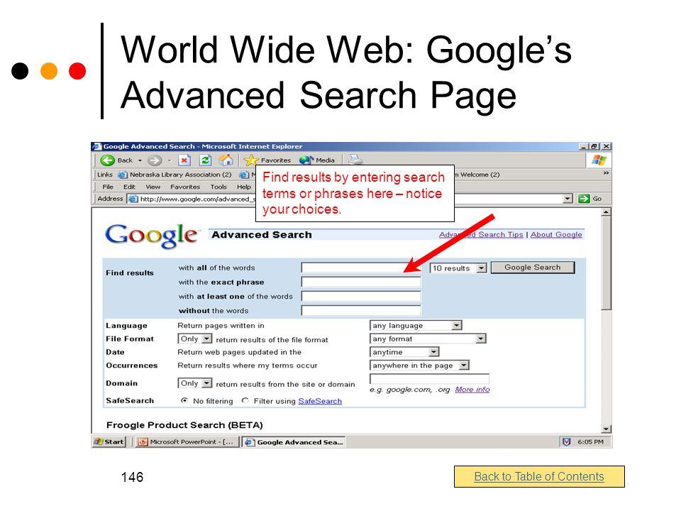 World Wide Web: Google's Advanced Search Page