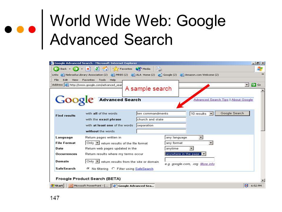 World Wide Web: Google Advanced Search