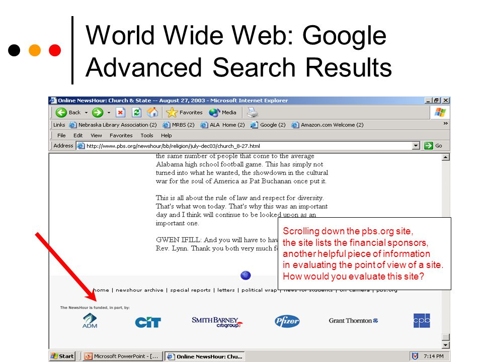 World Wide Web: Google Advanced Search Results