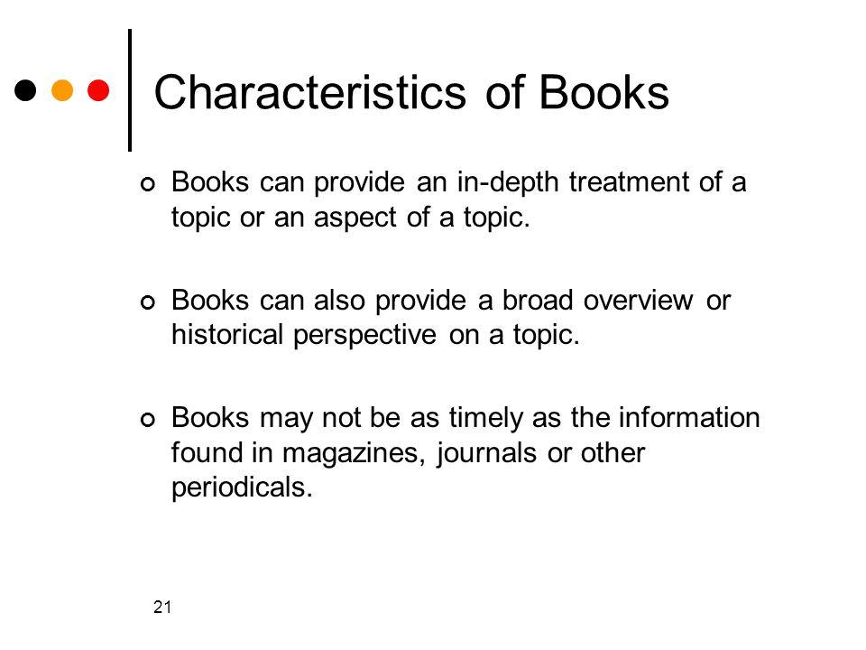 Characteristics of Books