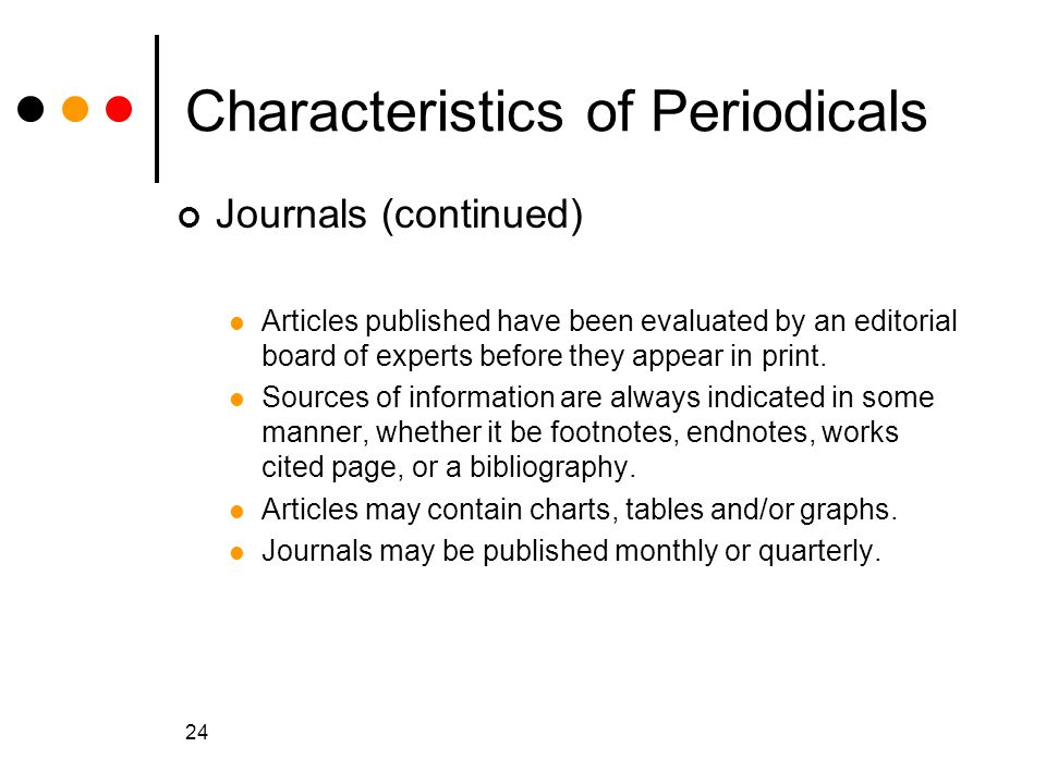 Characteristics of Periodicals