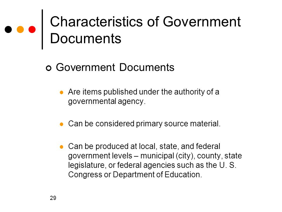 Characteristics of Government Documents