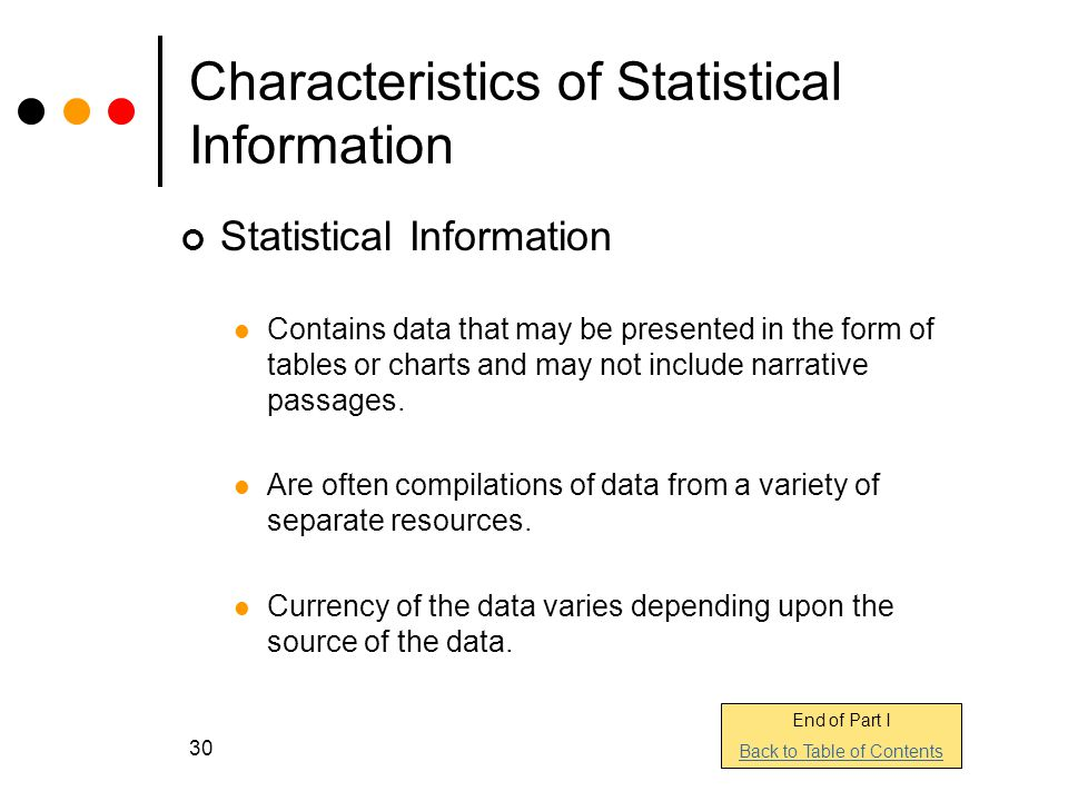 Characteristics of Statistical Information