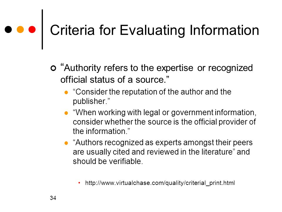 Criteria for Evaluating Information
