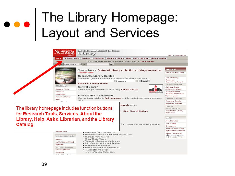 The Library Homepage: Layout and Services