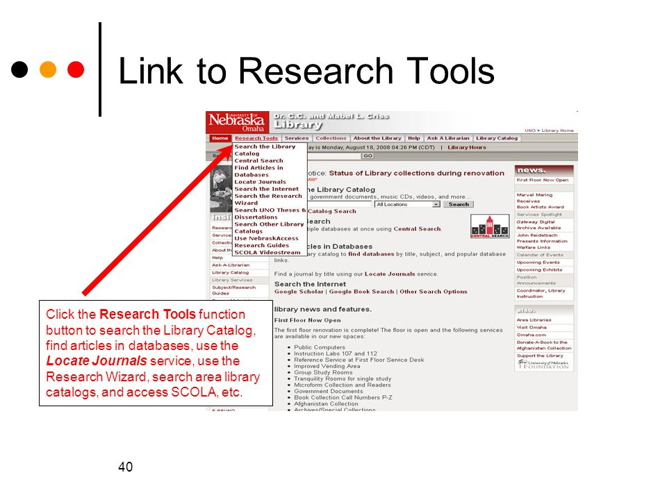 Link to Research Tools Click the Research Tools function