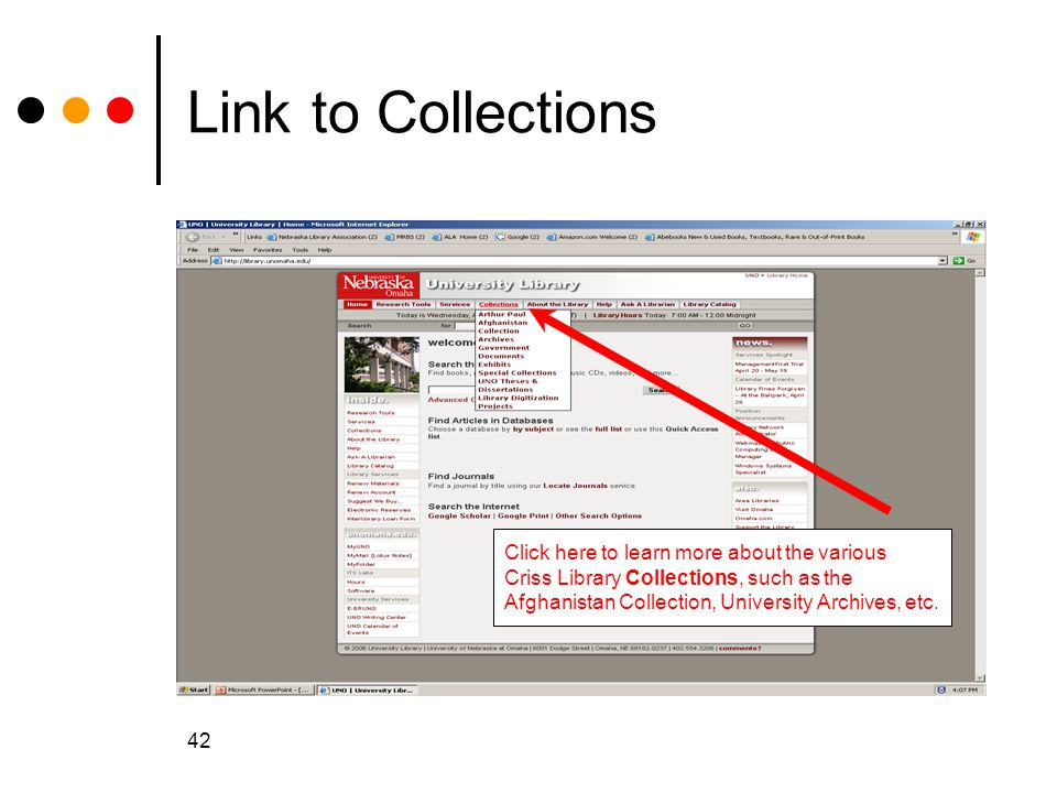 Link to Collections Click here to learn more about the various