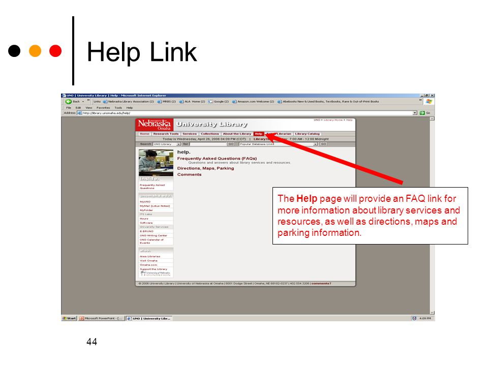 Help Link The Help page will provide an FAQ link for