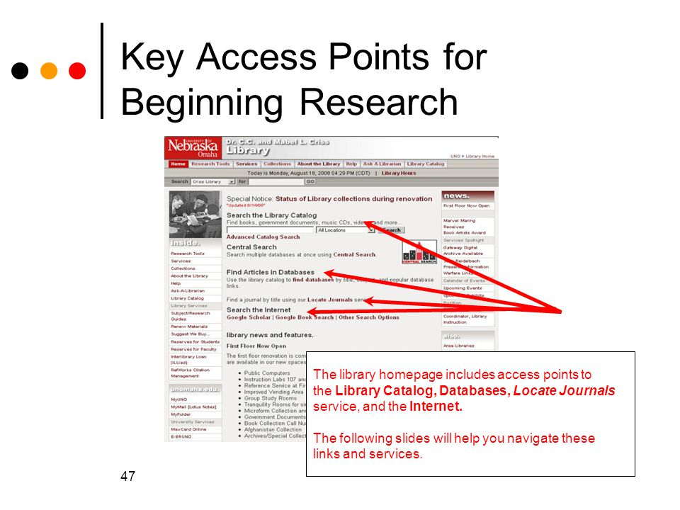 Key Access Points for Beginning Research
