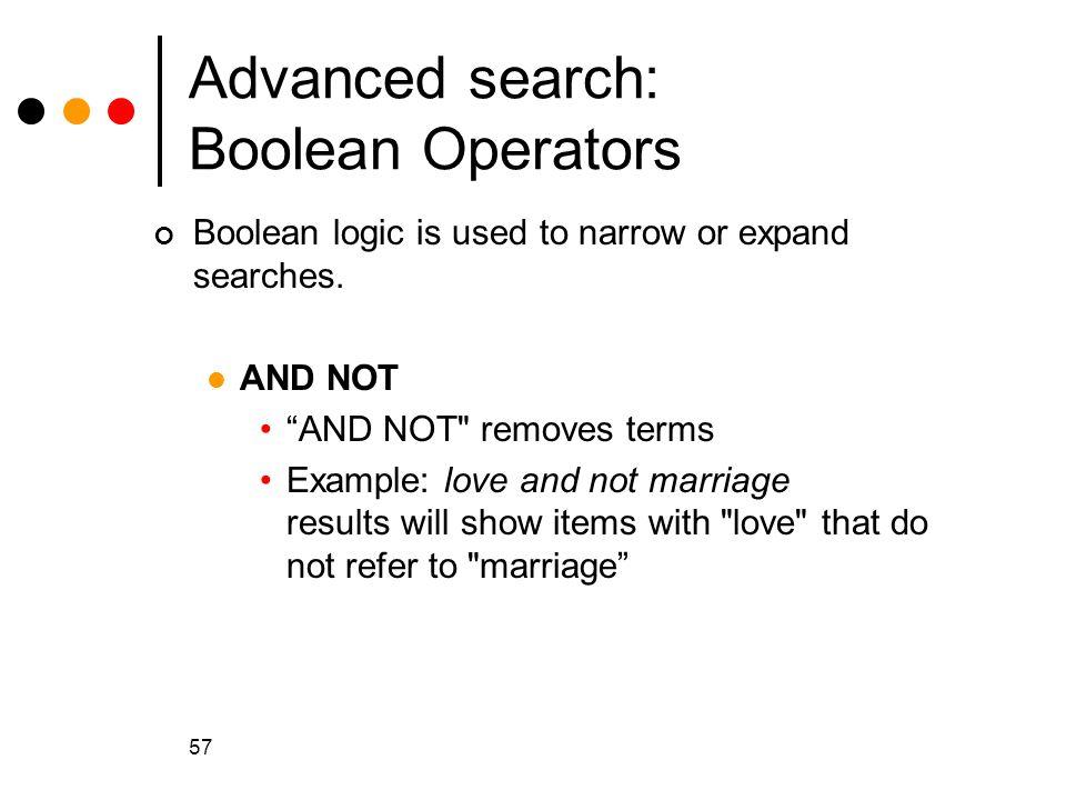 Advanced search: Boolean Operators