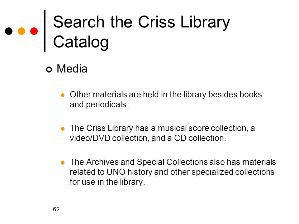 Search the Criss Library Catalog