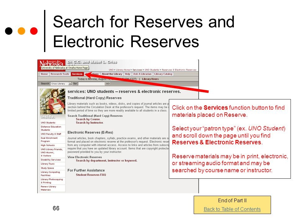 Search for Reserves and Electronic Reserves