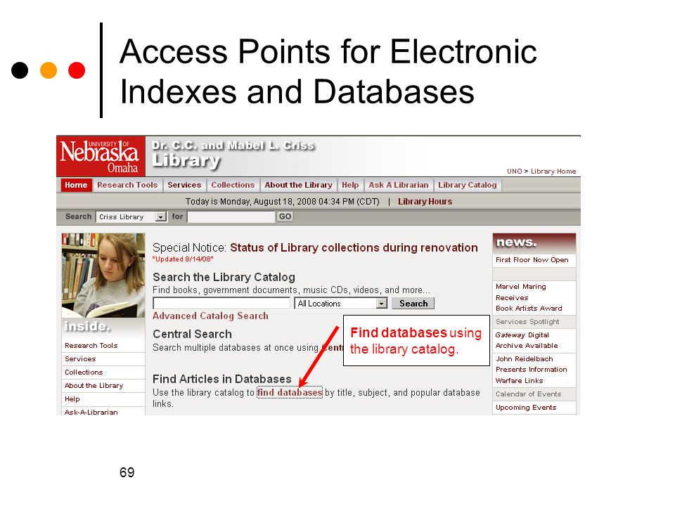 Access Points for Electronic Indexes and Databases