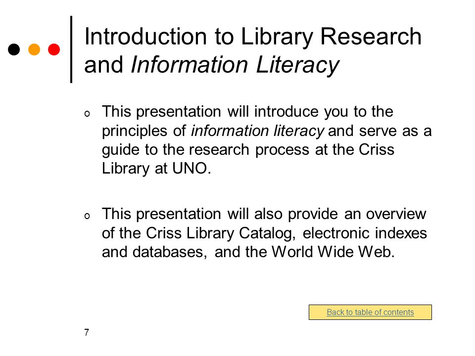 Introduction to Library Research and Information Literacy
