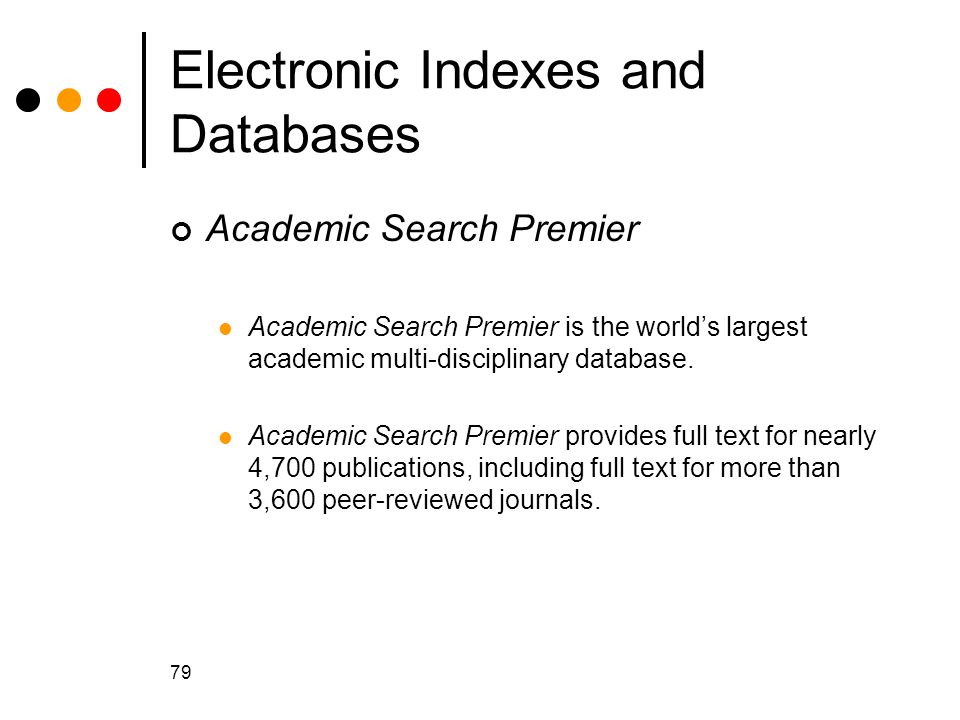 Electronic Indexes and Databases