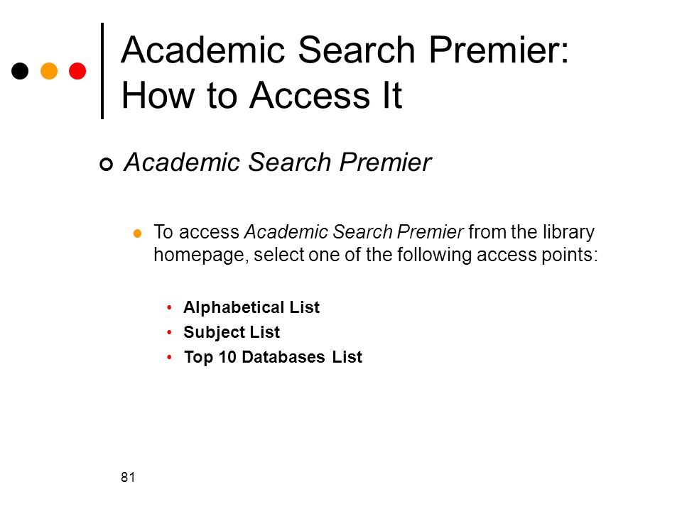Academic Search Premier: How to Access It