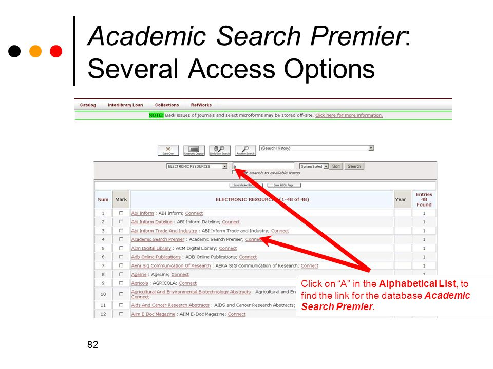 Academic Search Premier: Several Access Options
