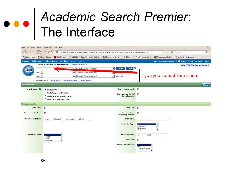 Academic Search Premier: The Interface