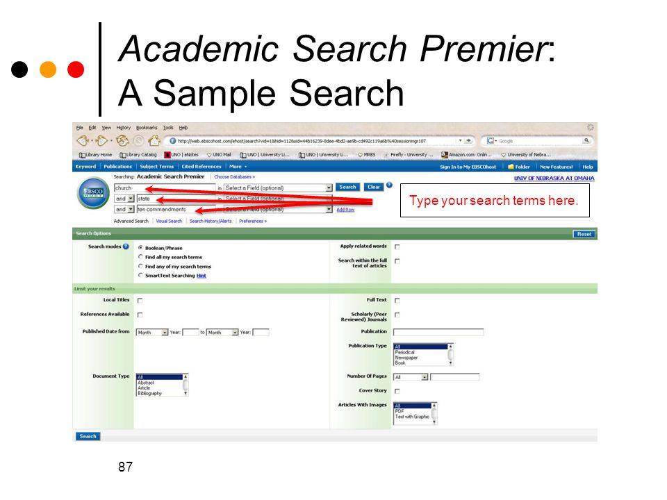 Academic Search Premier: A Sample Search