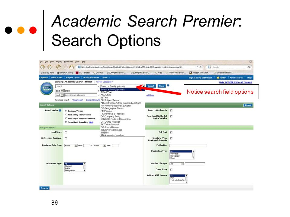 Academic Search Premier: Search Options