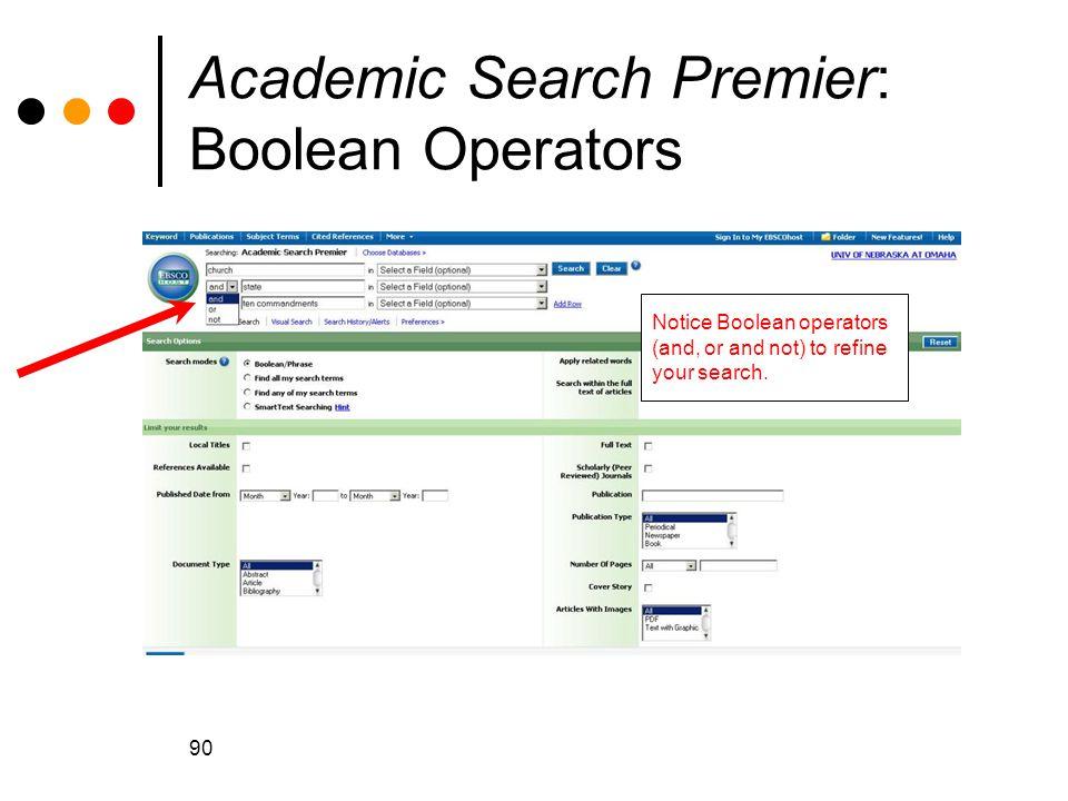 Academic Search Premier: Boolean Operators