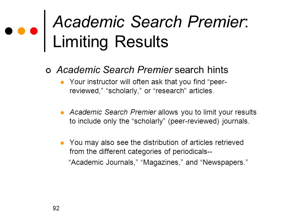 Academic Search Premier: Limiting Results