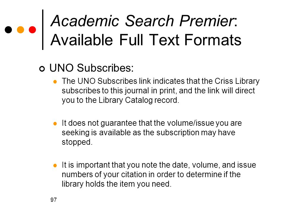 Academic Search Premier: Available Full Text Formats