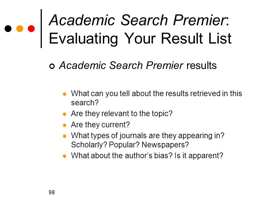 Academic Search Premier: Evaluating Your Result List