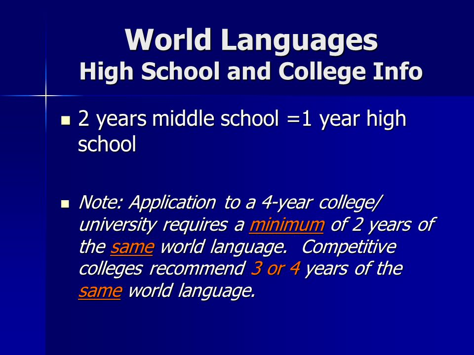World Languages High School and College Info