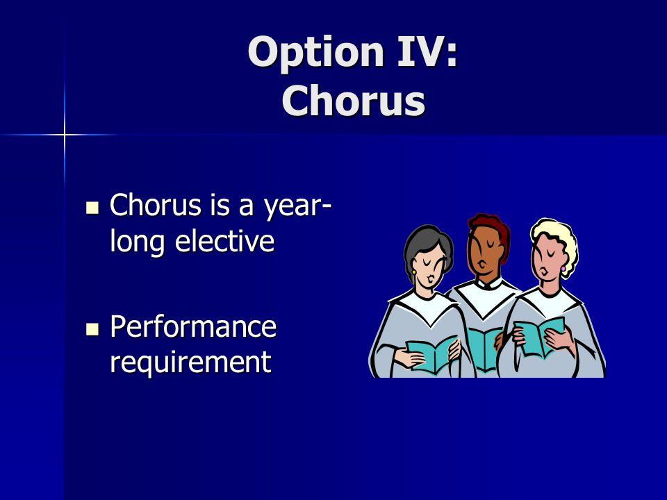 Option IV: Chorus Chorus is a year-long elective