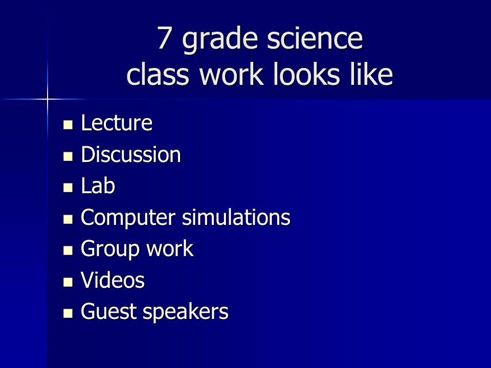 7 grade science class work looks like