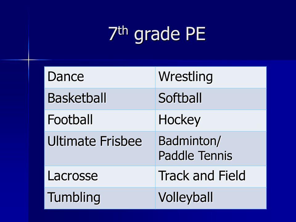 7th grade PE Dance Wrestling Basketball Softball Football Hockey
