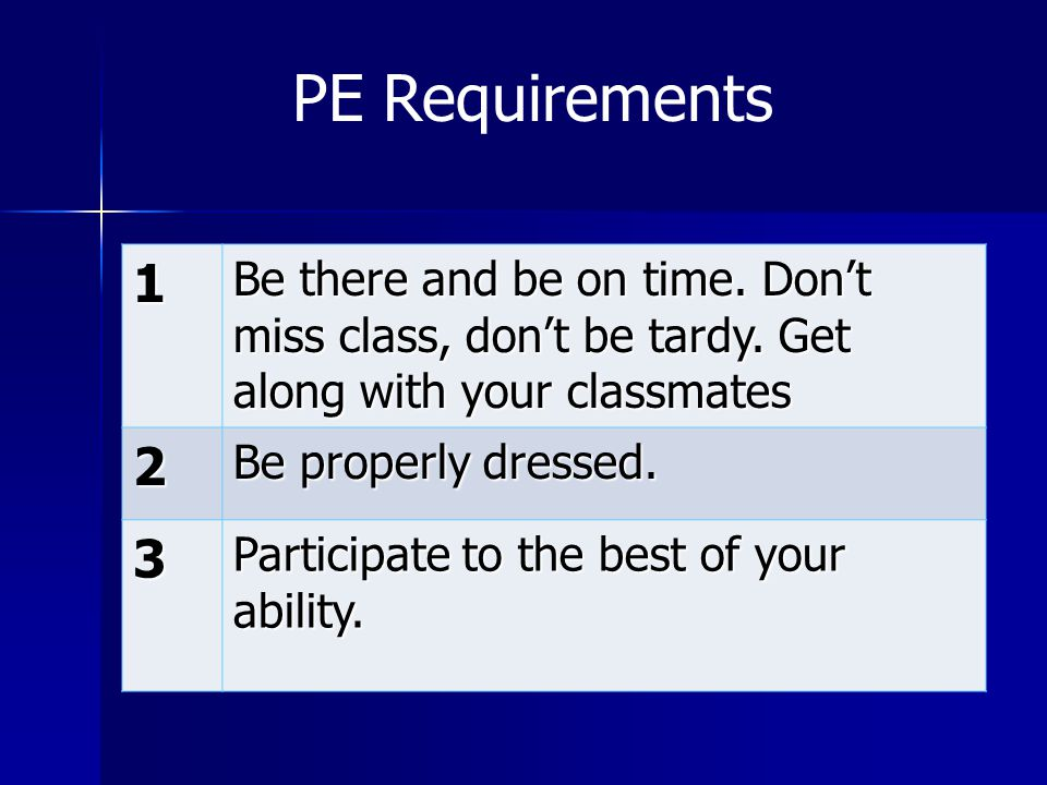 PE Requirements 1. Be there and be on time. Don't miss class, don't be tardy. Get along with your classmates.