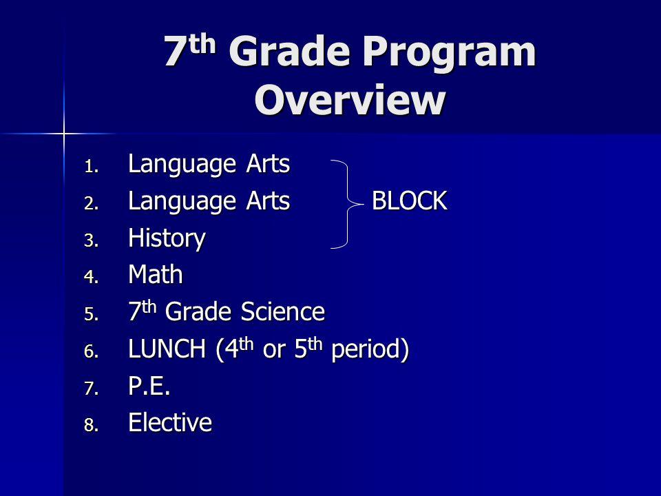 7th Grade Program Overview