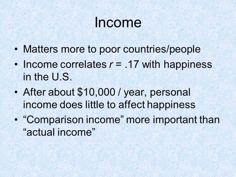 Income Matters more to poor countries/people