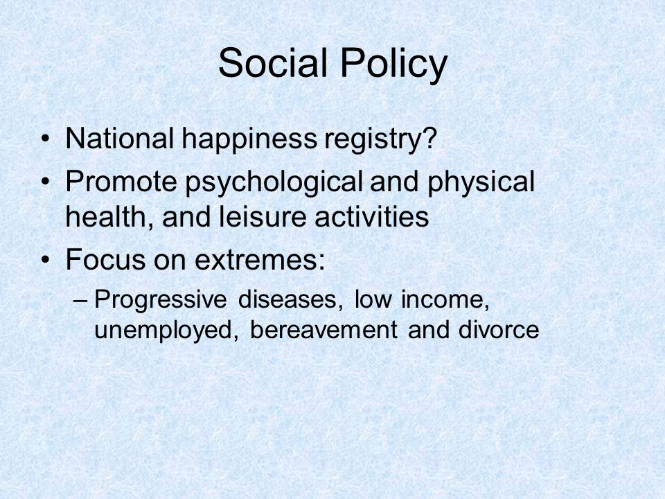 Social Policy National happiness registry