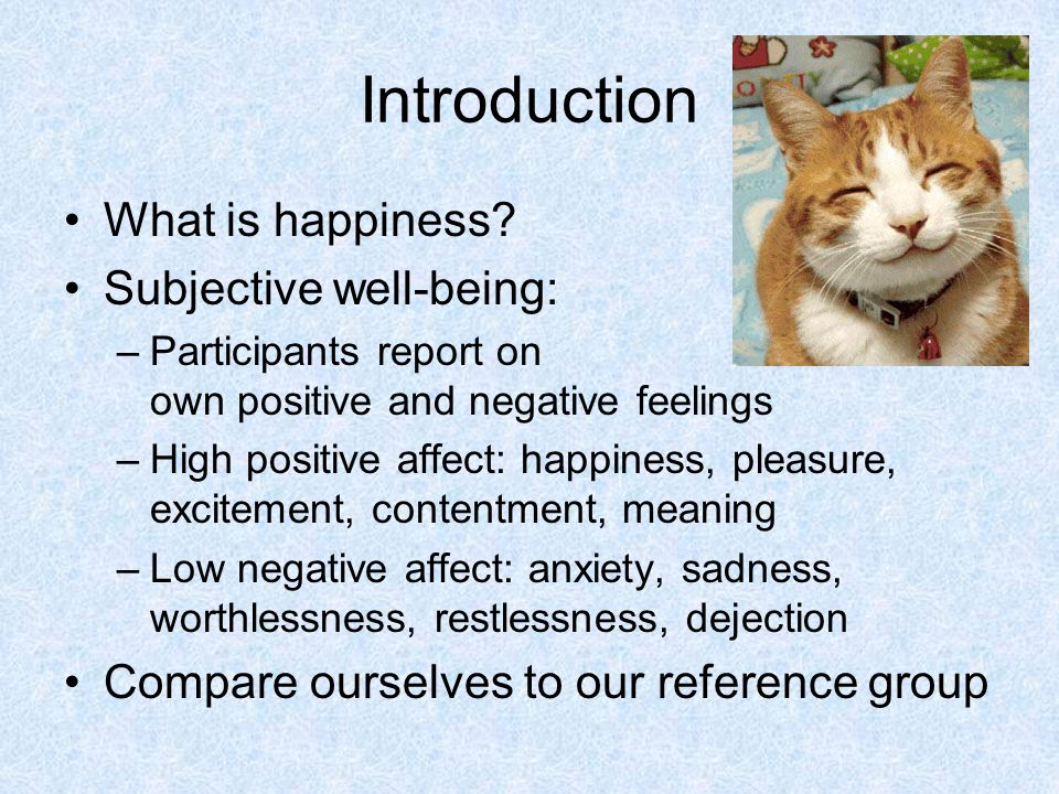 Introduction What is happiness Subjective well-being: