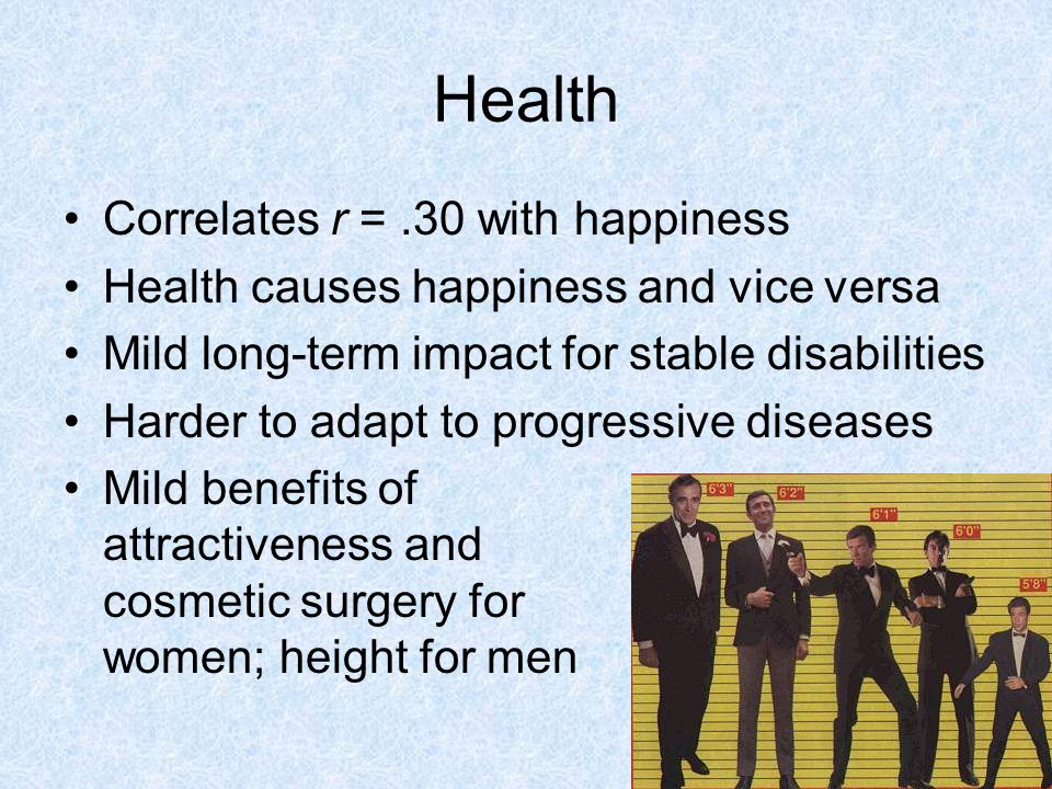Health Correlates r = .30 with happiness