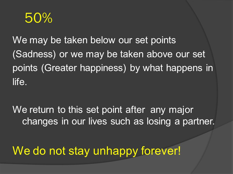 50% We do not stay unhappy forever!