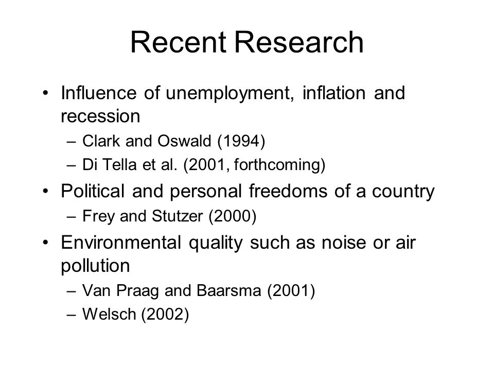 Recent Research Influence of unemployment, inflation and recession