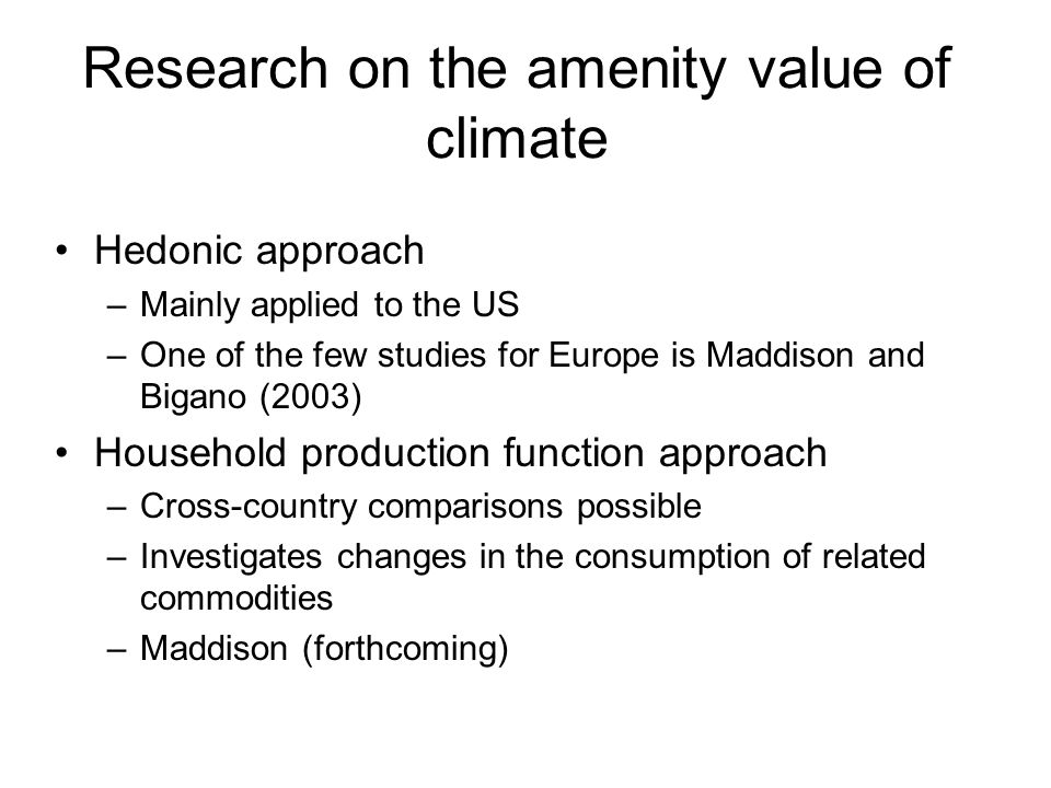 Research on the amenity value of climate