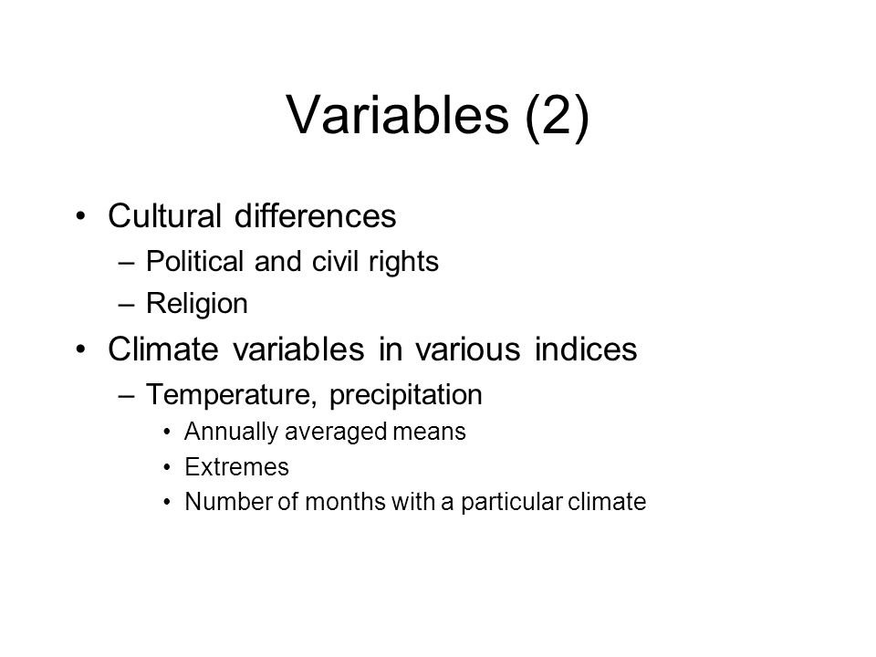 Variables (2) Cultural differences