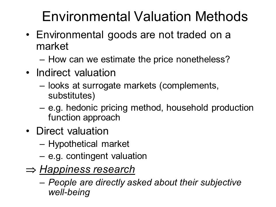Environmental Valuation Methods