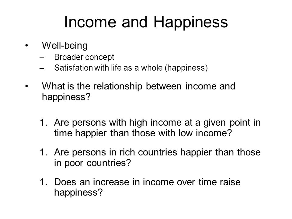 Income and Happiness Well-being