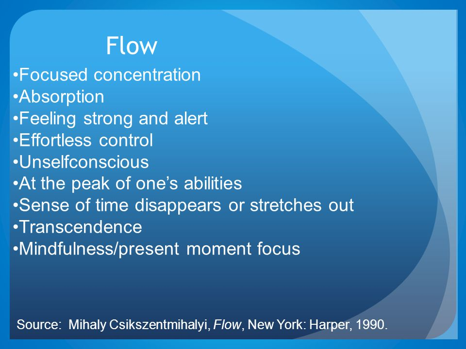 Flow Focused concentration Absorption Feeling strong and alert