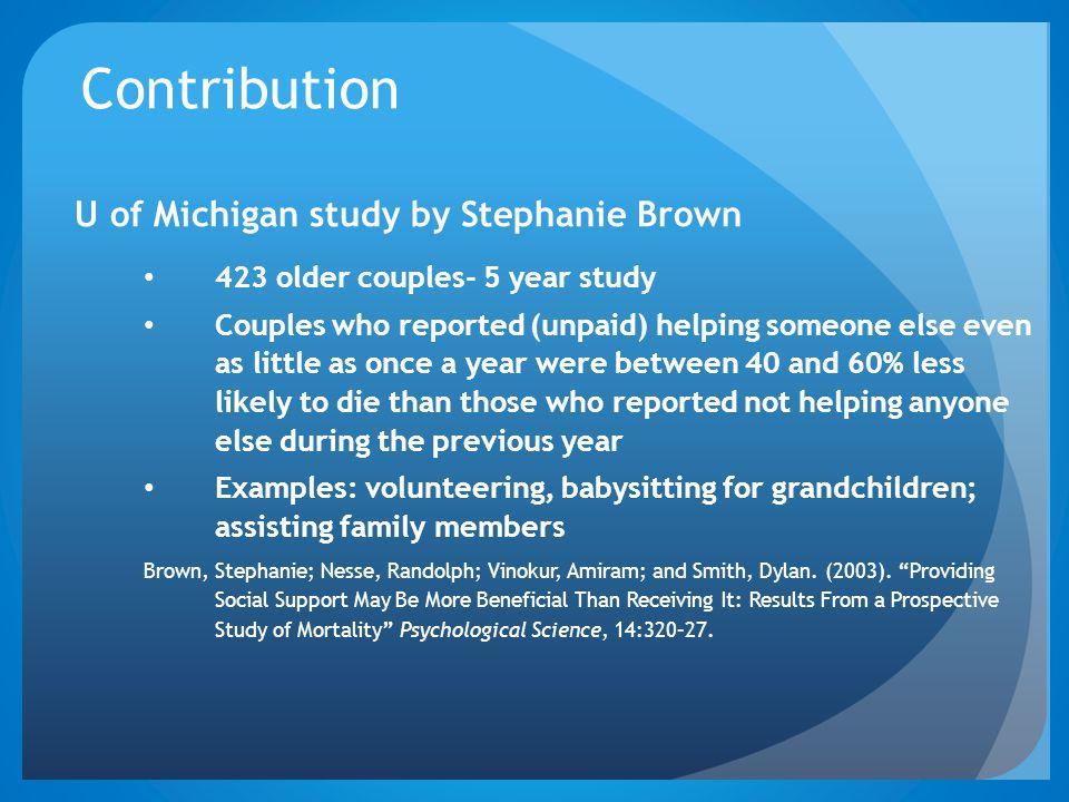 Contribution U of Michigan study by Stephanie Brown